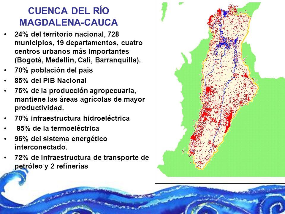 CUENCA DEL RÍO MAGDALENA-CAUCA 24% del territorio nacional, 728 municipios, 19 departamentos, cuatro centros urbanos más importantes (Bogotá, Medellín