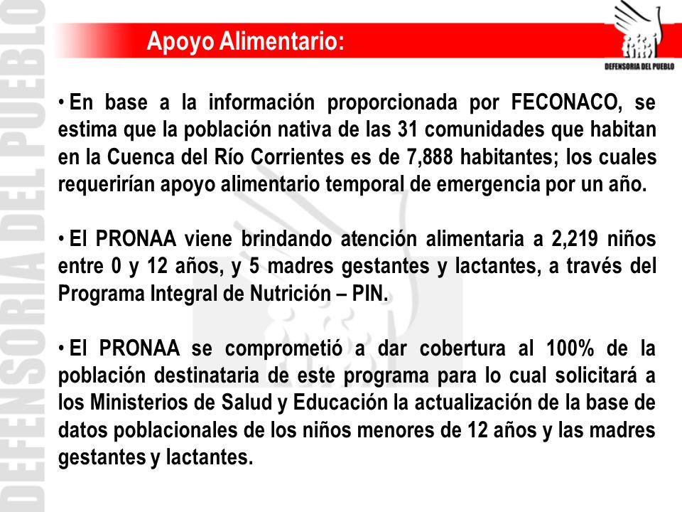 Apoyo Alimentario: En base a la información proporcionada por FECONACO, se estima que la población nativa de las 31 comunidades que habitan en la Cuen