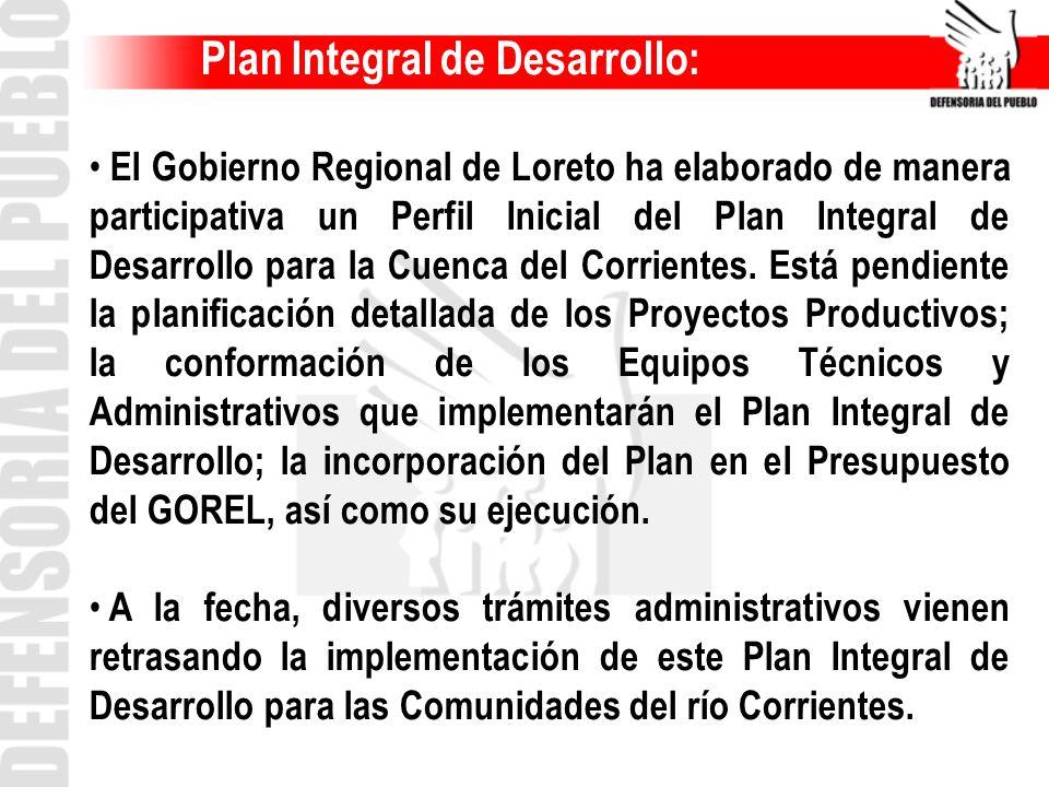 Plan Integral de Desarrollo: El Gobierno Regional de Loreto ha elaborado de manera participativa un Perfil Inicial del Plan Integral de Desarrollo par