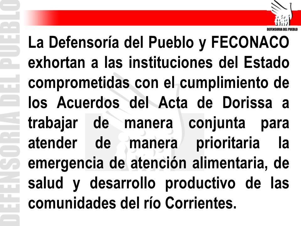 La Defensoría del Pueblo y FECONACO exhortan a las instituciones del Estado comprometidas con el cumplimiento de los Acuerdos del Acta de Dorissa a tr