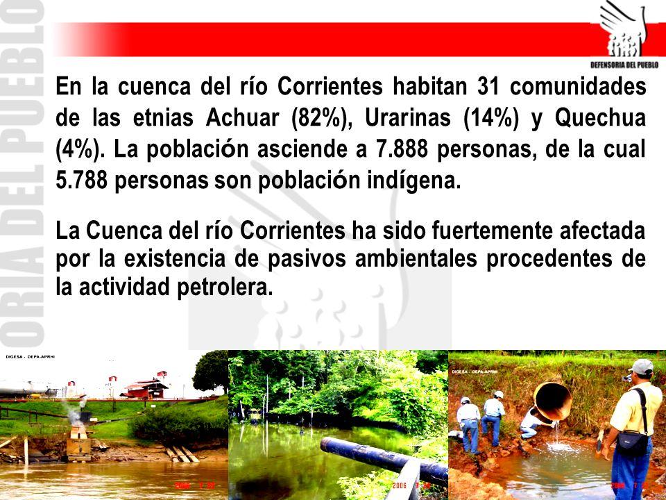 En la cuenca del r í o Corrientes habitan 31 comunidades de las etnias Achuar (82%), Urarinas (14%) y Quechua (4%). La poblaci ó n asciende a 7.888 pe