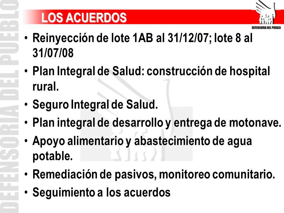 LOS ACUERDOS LOS ACUERDOS Reinyección de lote 1AB al 31/12/07; lote 8 al 31/07/08 Plan Integral de Salud: construcción de hospital rural. Seguro Integ