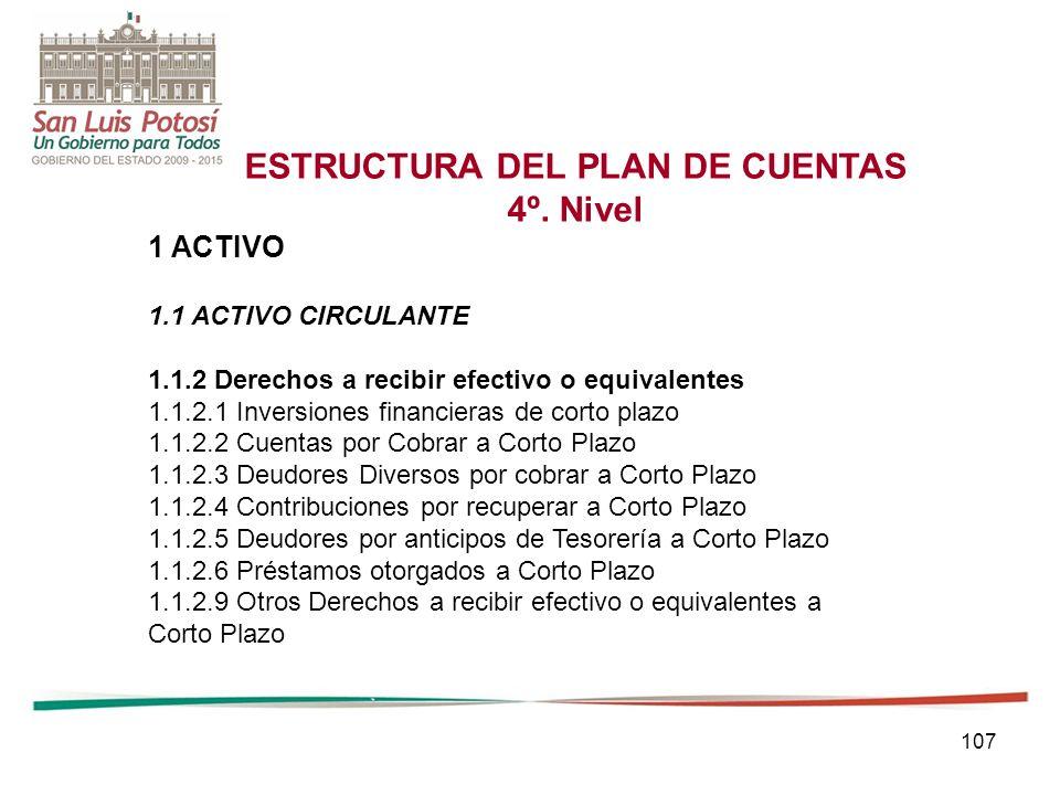 107 ESTRUCTURA DEL PLAN DE CUENTAS 4º.