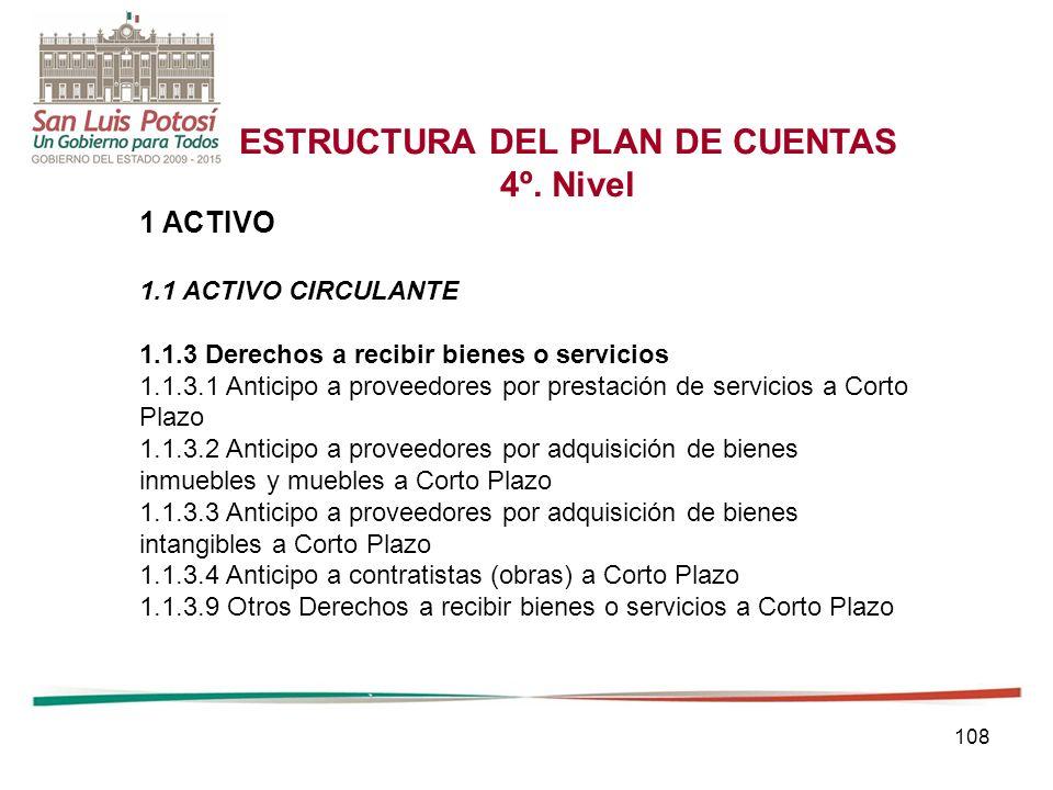 108 ESTRUCTURA DEL PLAN DE CUENTAS 4º.