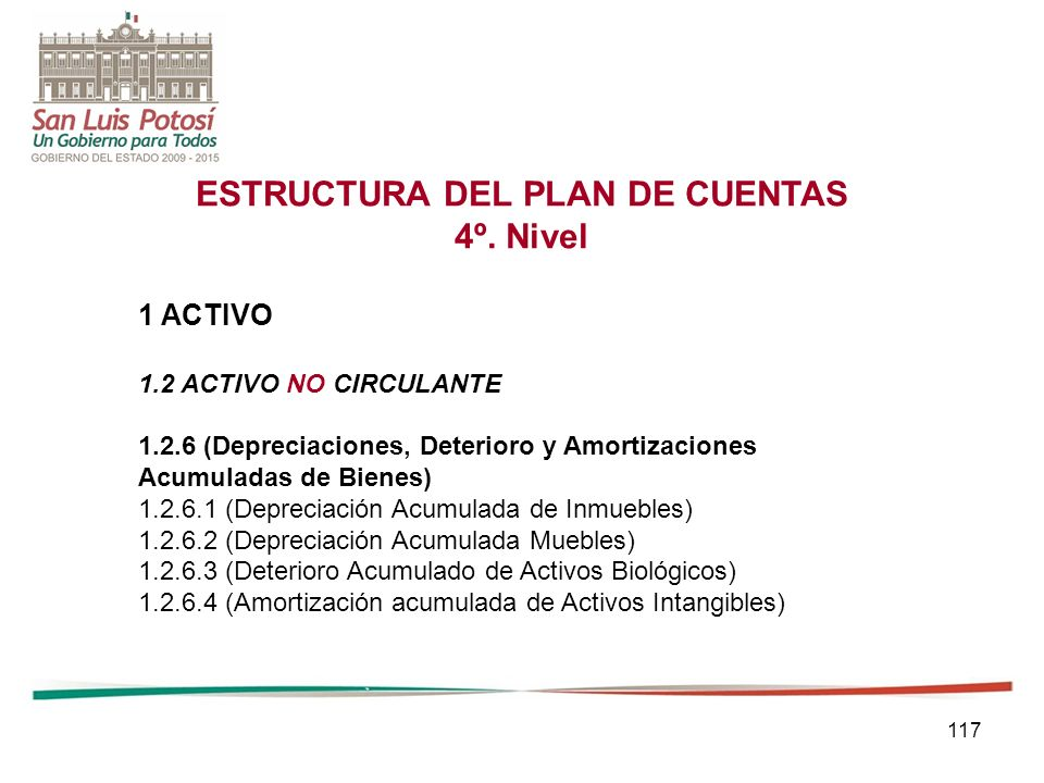 117 ESTRUCTURA DEL PLAN DE CUENTAS 4º.