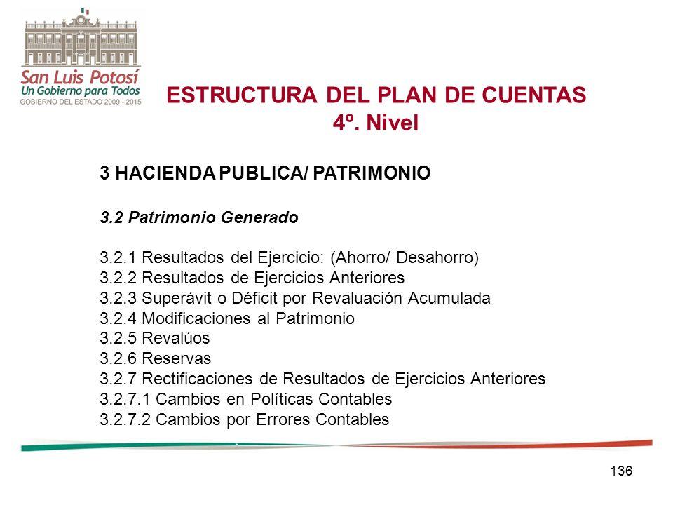 136 ESTRUCTURA DEL PLAN DE CUENTAS 4º.