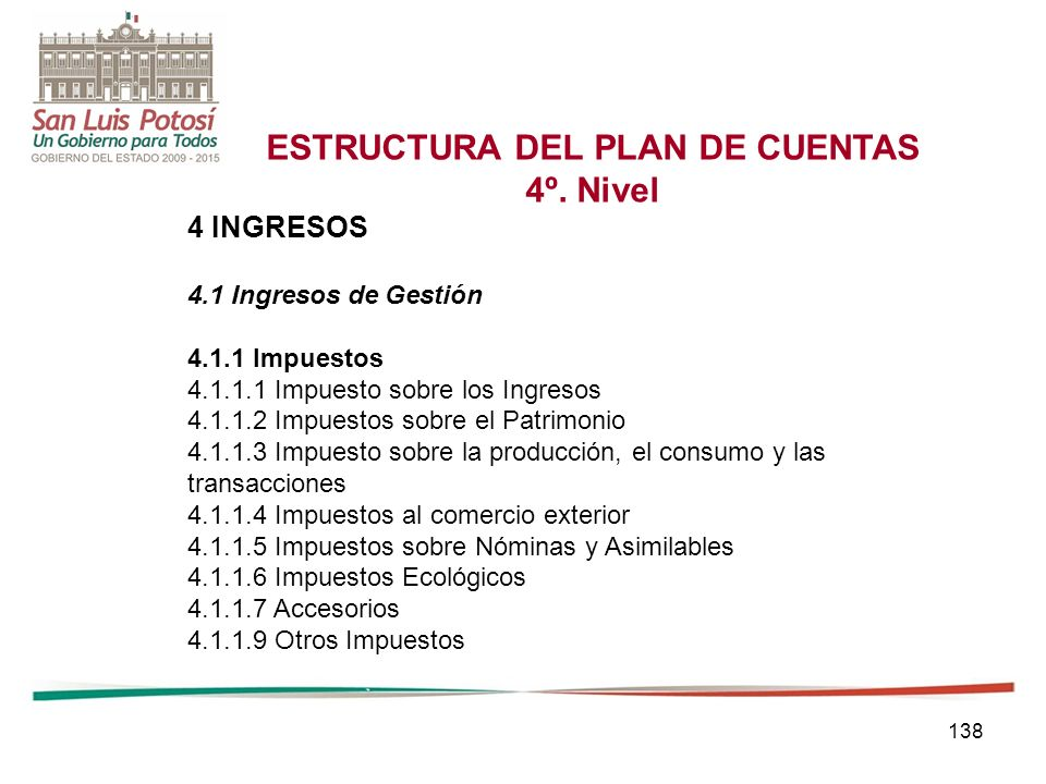 138 ESTRUCTURA DEL PLAN DE CUENTAS 4º.