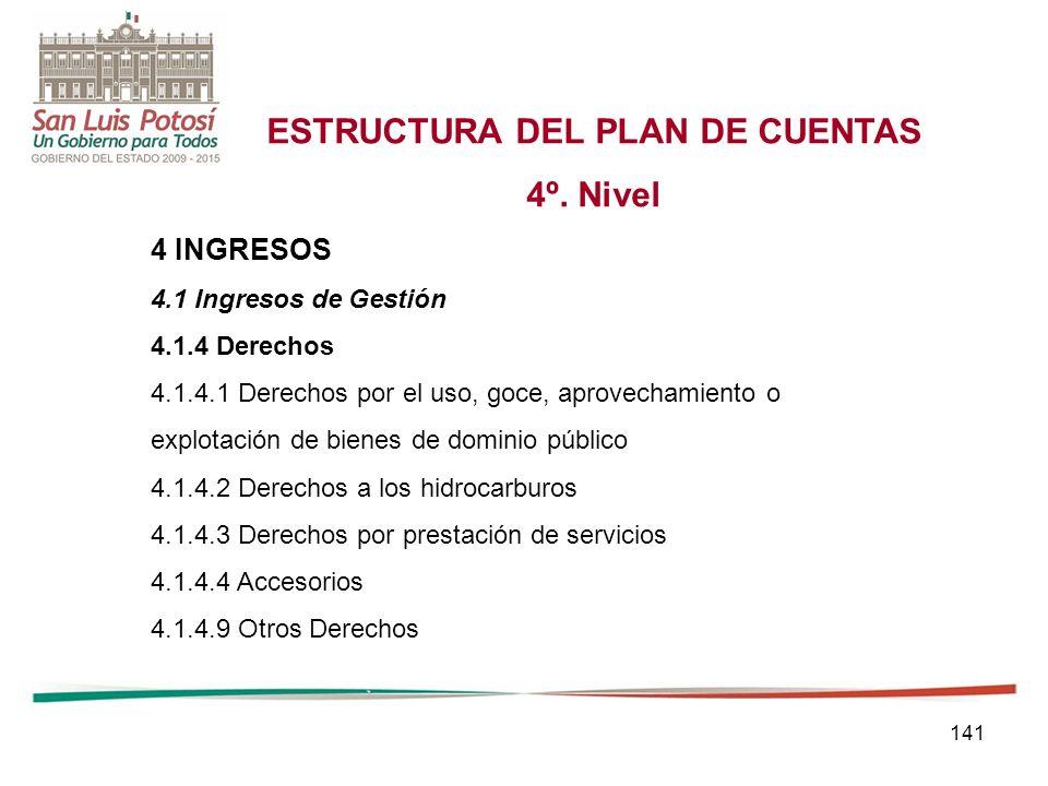141 ESTRUCTURA DEL PLAN DE CUENTAS 4º.