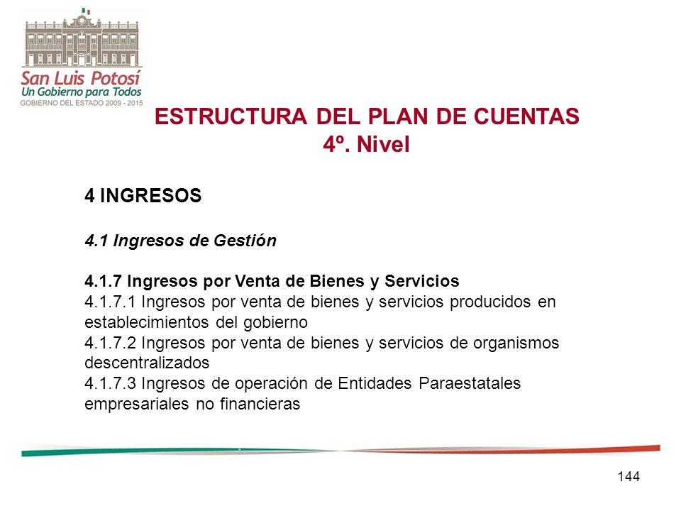 144 ESTRUCTURA DEL PLAN DE CUENTAS 4º.