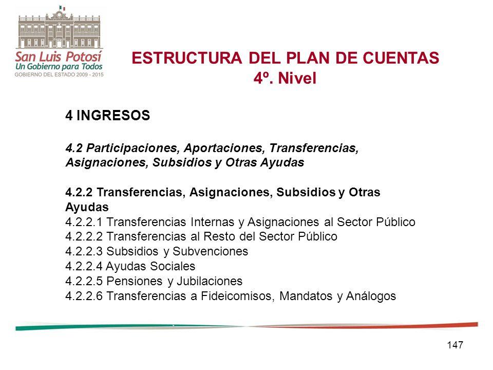 147 ESTRUCTURA DEL PLAN DE CUENTAS 4º.