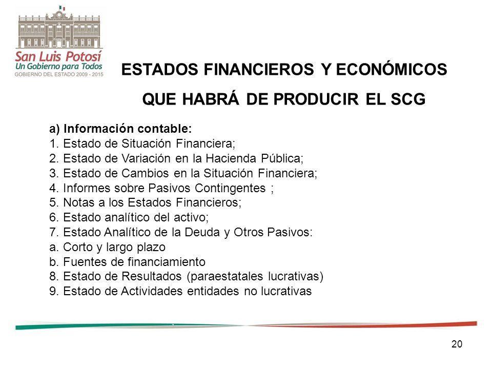 20 ESTADOS FINANCIEROS Y ECONÓMICOS QUE HABRÁ DE PRODUCIR EL SCG a) Información contable: 1.