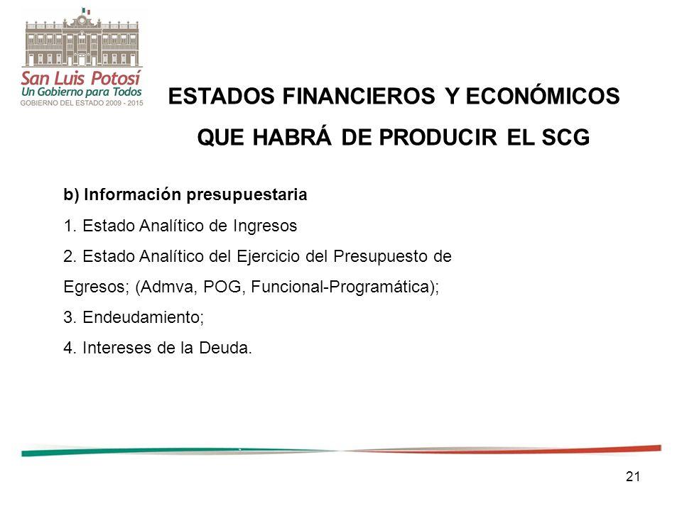 21 ESTADOS FINANCIEROS Y ECONÓMICOS QUE HABRÁ DE PRODUCIR EL SCG b) Información presupuestaria 1.