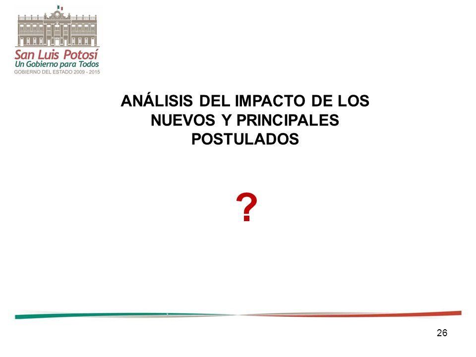 26 ANÁLISIS DEL IMPACTO DE LOS NUEVOS Y PRINCIPALES POSTULADOS ?