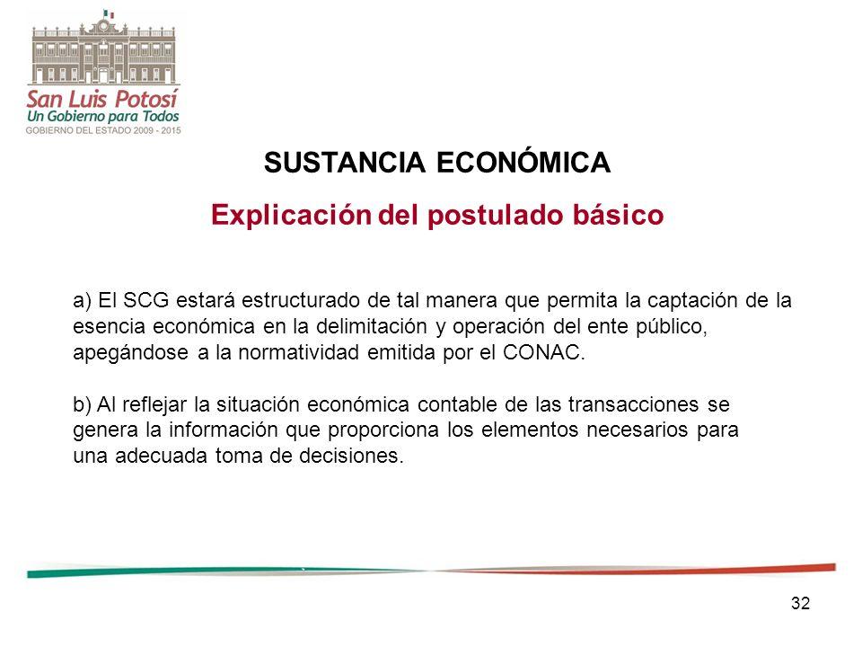 32 SUSTANCIA ECONÓMICA Explicación del postulado básico a) El SCG estará estructurado de tal manera que permita la captación de la esencia económica en la delimitación y operación del ente público, apegándose a la normatividad emitida por el CONAC.