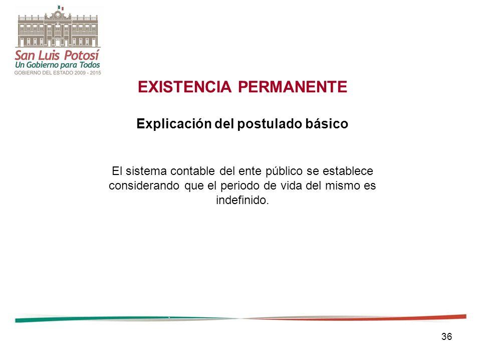 36 EXISTENCIA PERMANENTE Explicación del postulado básico El sistema contable del ente público se establece considerando que el periodo de vida del mismo es indefinido.