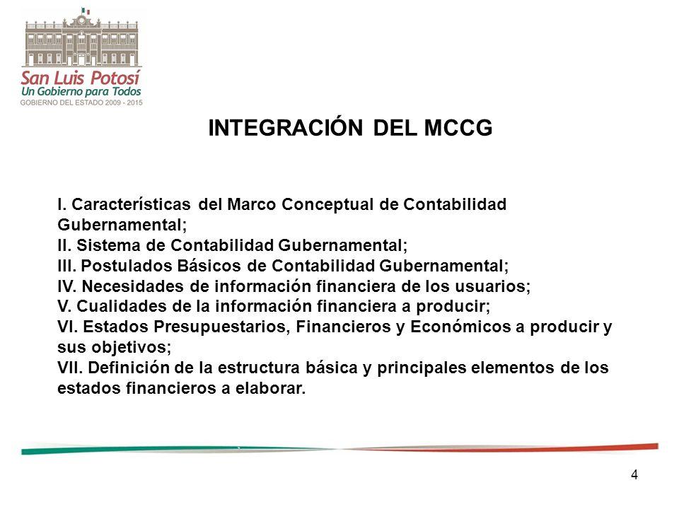 4 I.Características del Marco Conceptual de Contabilidad Gubernamental; II.