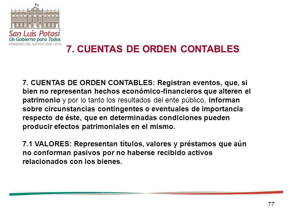 77 7.CUENTAS DE ORDEN CONTABLES 7.