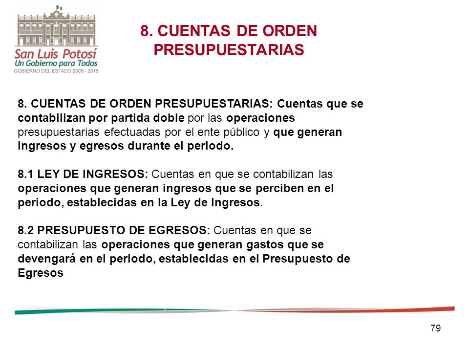 79 8.CUENTAS DE ORDEN PRESUPUESTARIAS 8.
