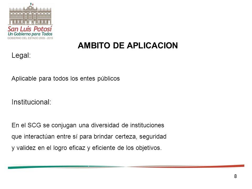 8 AMBITO DE APLICACION Legal: Aplicable para todos los entes públicos Institucional: En el SCG se conjugan una diversidad de instituciones que interactúan entre sí para brindar certeza, seguridad y validez en el logro eficaz y eficiente de los objetivos.