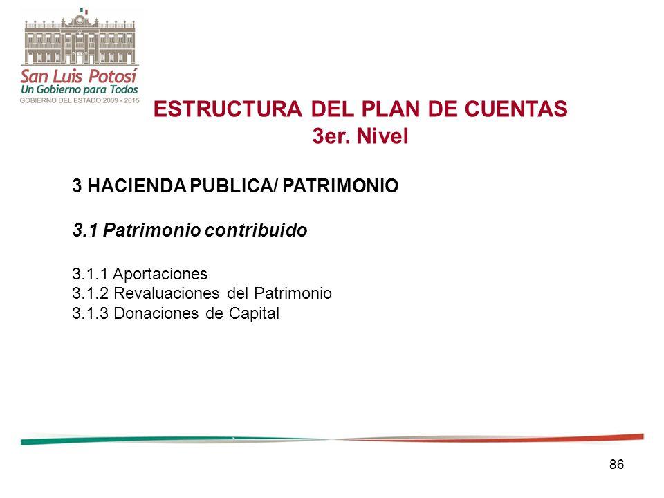 86 ESTRUCTURA DEL PLAN DE CUENTAS 3er.