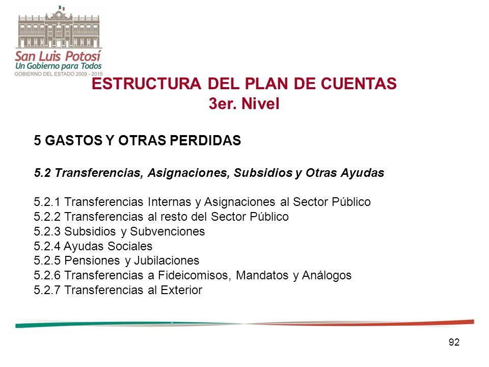92 ESTRUCTURA DEL PLAN DE CUENTAS 3er.