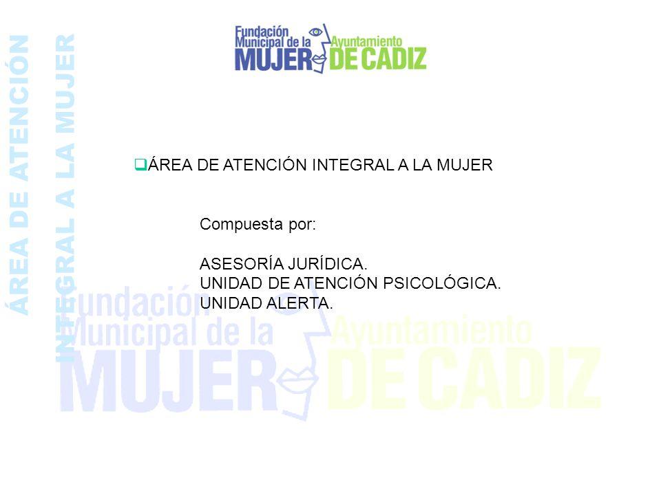 ÁREA DE ATENCIÓN INTEGRAL A LA MUJER ÁREA DE ATENCIÓN INTEGRAL A LA MUJER Compuesta por: ASESORÍA JURÍDICA. UNIDAD DE ATENCIÓN PSICOLÓGICA. UNIDAD ALE