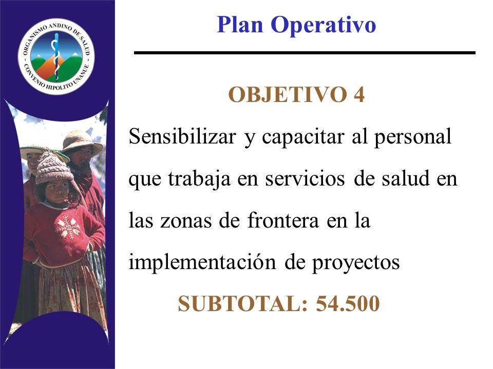 Plan Operativo OBJETIVO 4 Sensibilizar y capacitar al personal que trabaja en servicios de salud en las zonas de frontera en la implementación de proy