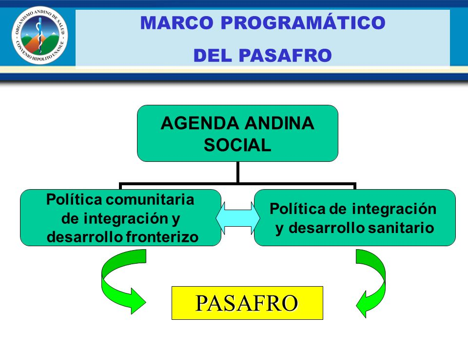 MARCO PROGRAMÁTICO DEL PASAFRO PASAFRO AGENDA ANDINA SOCIAL Política comunitaria de integración y desarrollo fronterizo Política de integración y desa