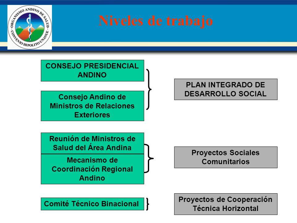 Niveles de trabajo Comité Técnico Binacional Mecanismo de Coordinación Regional Andino Reunión de Ministros de Salud del Área Andina Consejo Andino de