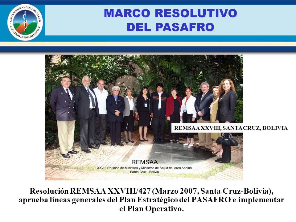 Resolución REMSAA XXVIII/427 (Marzo 2007, Santa Cruz-Bolivia), aprueba líneas generales del Plan Estratégico del PASAFRO e implementar el Plan Operati