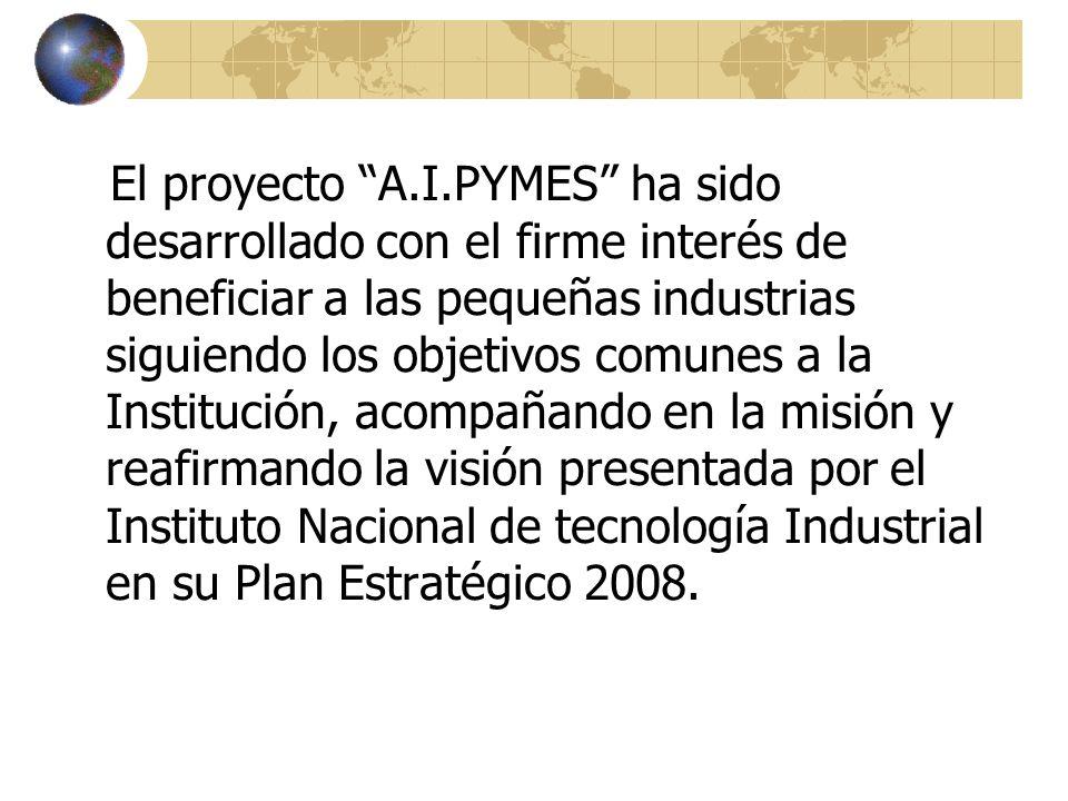 El proyecto A.I.PYMES ha sido desarrollado con el firme interés de beneficiar a las pequeñas industrias siguiendo los objetivos comunes a la Instituci