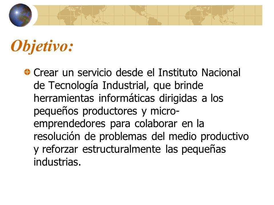 Objetivo: Crear un servicio desde el Instituto Nacional de Tecnología Industrial, que brinde herramientas informáticas dirigidas a los pequeños produc