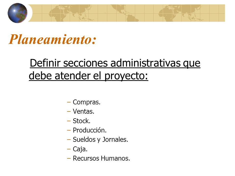 Planeamiento: Definir secciones administrativas que debe atender el proyecto: –Compras. –Ventas. –Stock. –Producción. –Sueldos y Jornales. –Caja. –Rec