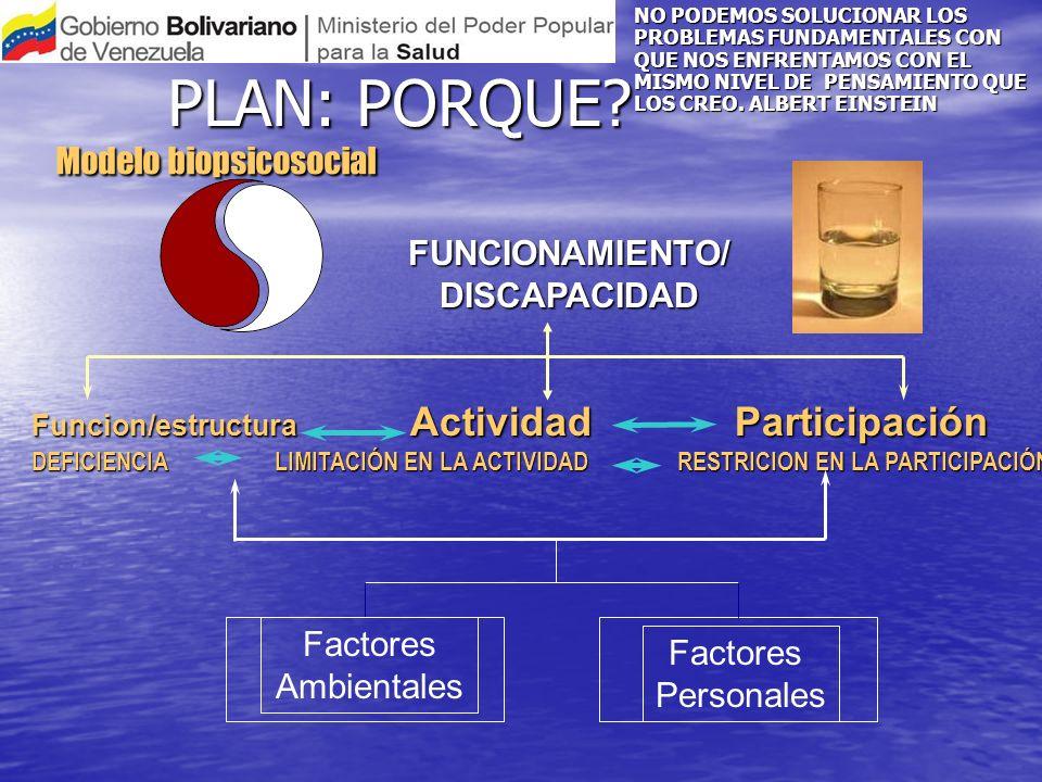 Modelo biopsicosocial Funcion/estructura Actividad Participación DEFICIENCIA LIMITACIÓN EN LA ACTIVIDAD RESTRICION EN LA PARTICIPACIÓN FUNCIONAMIENTO/