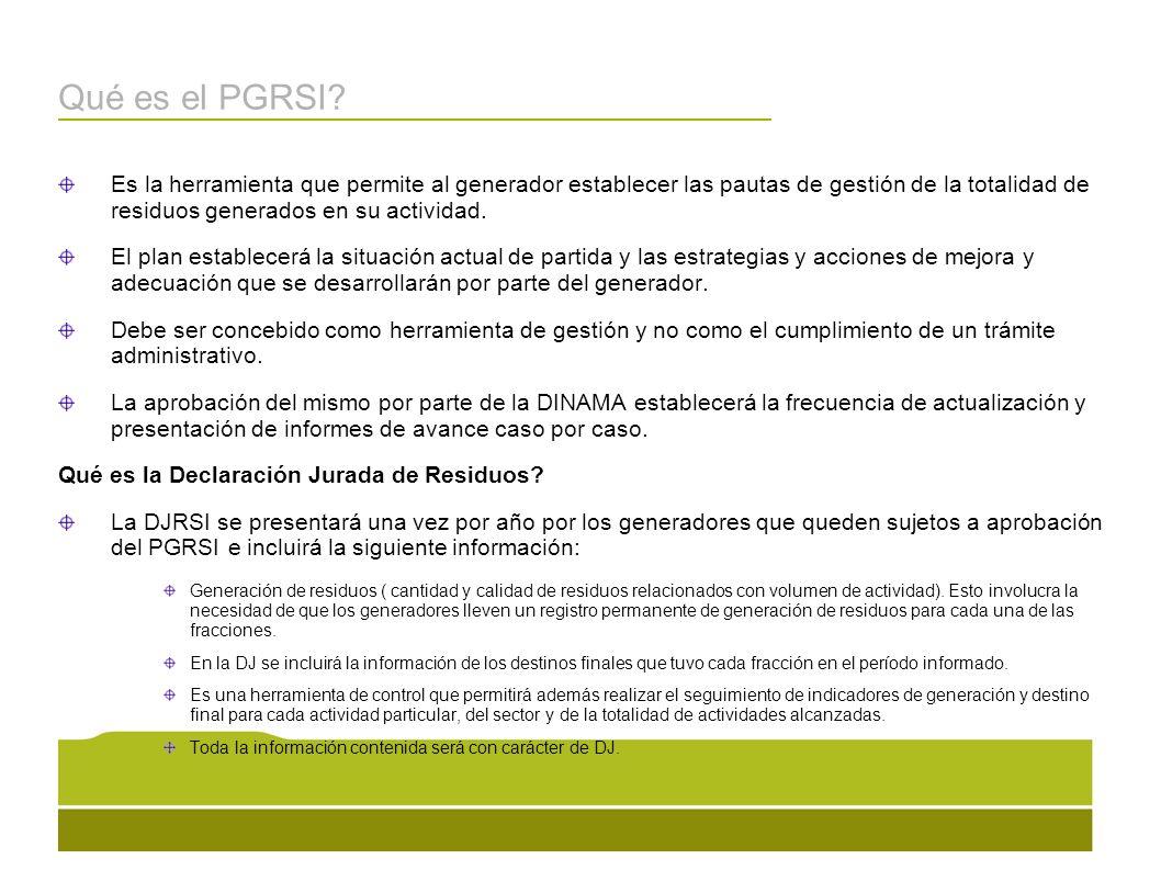 Qué es el PGRSI? Es la herramienta que permite al generador establecer las pautas de gestión de la totalidad de residuos generados en su actividad. El