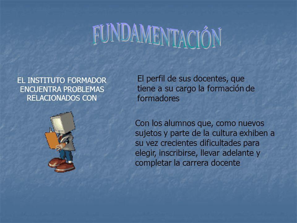 EL INSTITUTO FORMADOR ENCUENTRA PROBLEMAS RELACIONADOS CON El perfil de sus docentes, que tiene a su cargo la formación de formadores Con los alumnos