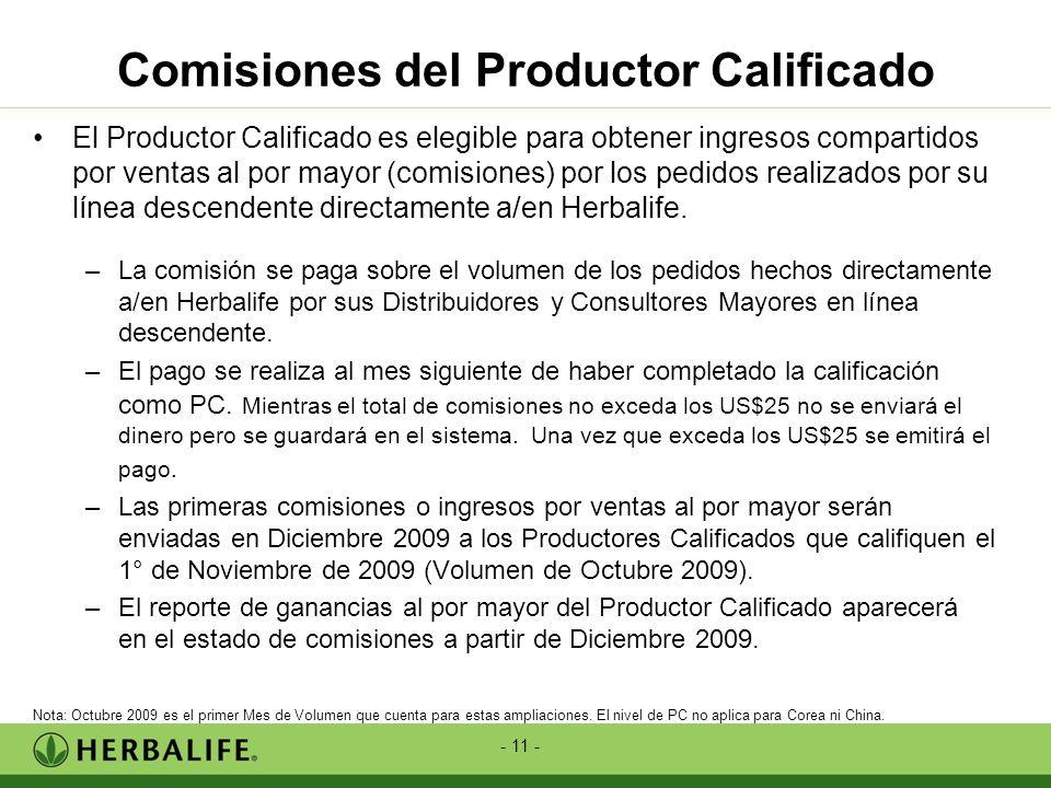 - 11 - Comisiones del Productor Calificado El Productor Calificado es elegible para obtener ingresos compartidos por ventas al por mayor (comisiones)
