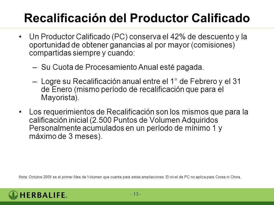 - 13 - Un Productor Calificado (PC) conserva el 42% de descuento y la oportunidad de obtener ganancias al por mayor (comisiones) compartidas siempre y