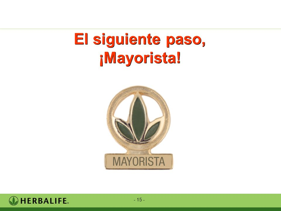 - 15 - El siguiente paso, ¡Mayorista!
