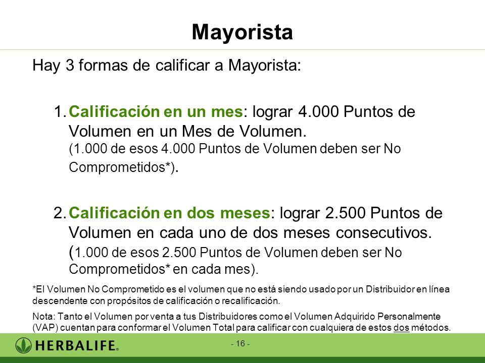 - 16 - Hay 3 formas de calificar a Mayorista: 1.Calificación en un mes: lograr 4.000 Puntos de Volumen en un Mes de Volumen. (1.000 de esos 4.000 Punt