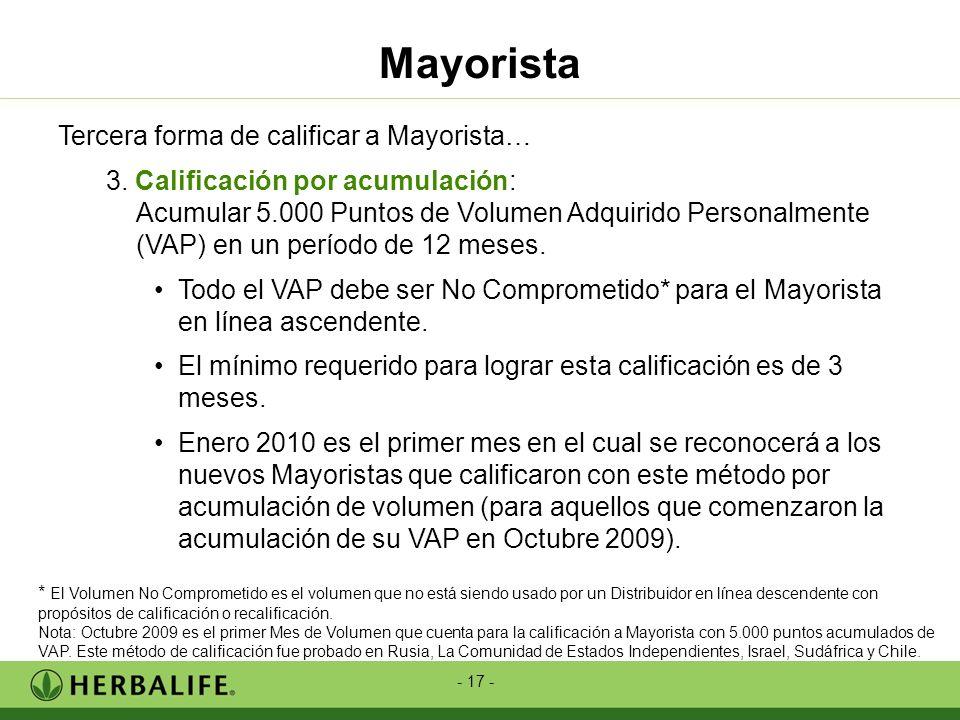 - 17 - Tercera forma de calificar a Mayorista… 3. Calificación por acumulación: Acumular 5.000 Puntos de Volumen Adquirido Personalmente (VAP) en un p