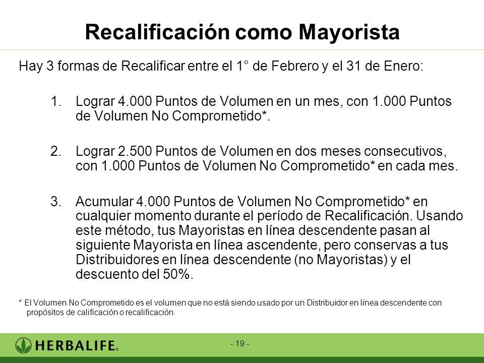 - 19 - Recalificación como Mayorista Hay 3 formas de Recalificar entre el 1° de Febrero y el 31 de Enero: 1.Lograr 4.000 Puntos de Volumen en un mes,