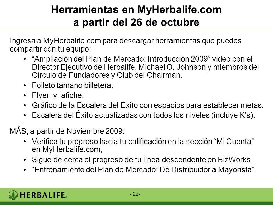 - 22 - Herramientas en MyHerbalife.com a partir del 26 de octubre Ingresa a MyHerbalife.com para descargar herramientas que puedes compartir con tu eq