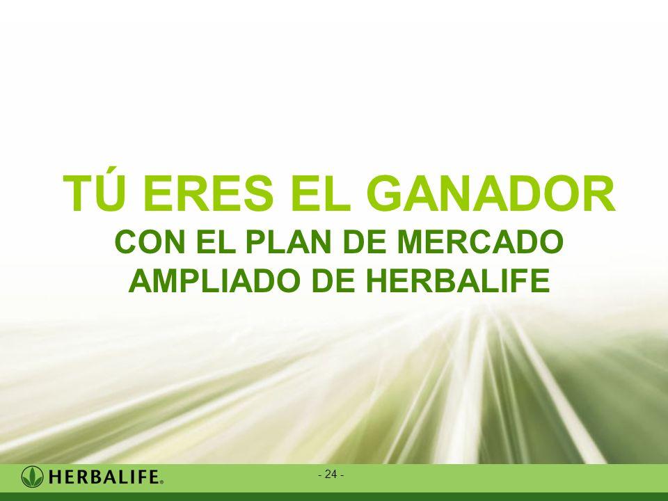 - 24 - TÚ ERES EL GANADOR CON EL PLAN DE MERCADO AMPLIADO DE HERBALIFE