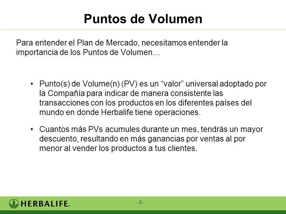 - 5 - Puntos de Volumen Para entender el Plan de Mercado, necesitamos entender la importancia de los Puntos de Volumen… Punto(s) de Volume(n) (PV) es