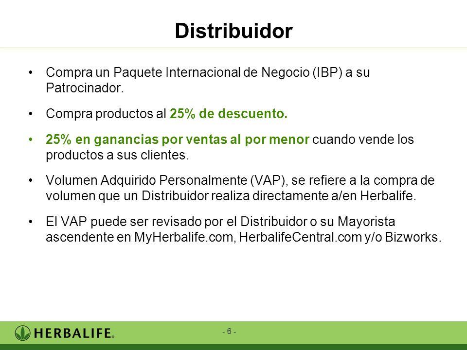- 6 - Distribuidor Compra un Paquete Internacional de Negocio (IBP) a su Patrocinador. Compra productos al 25% de descuento. 25% en ganancias por vent