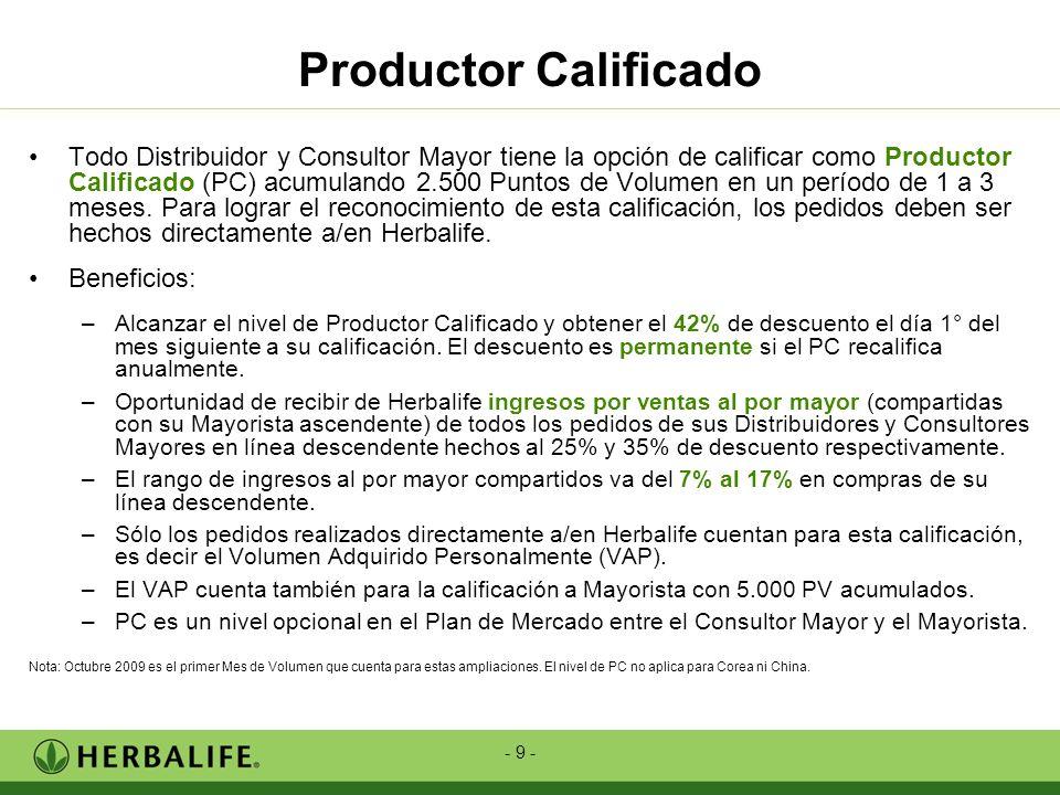 - 9 - Todo Distribuidor y Consultor Mayor tiene la opción de calificar como Productor Calificado (PC) acumulando 2.500 Puntos de Volumen en un período
