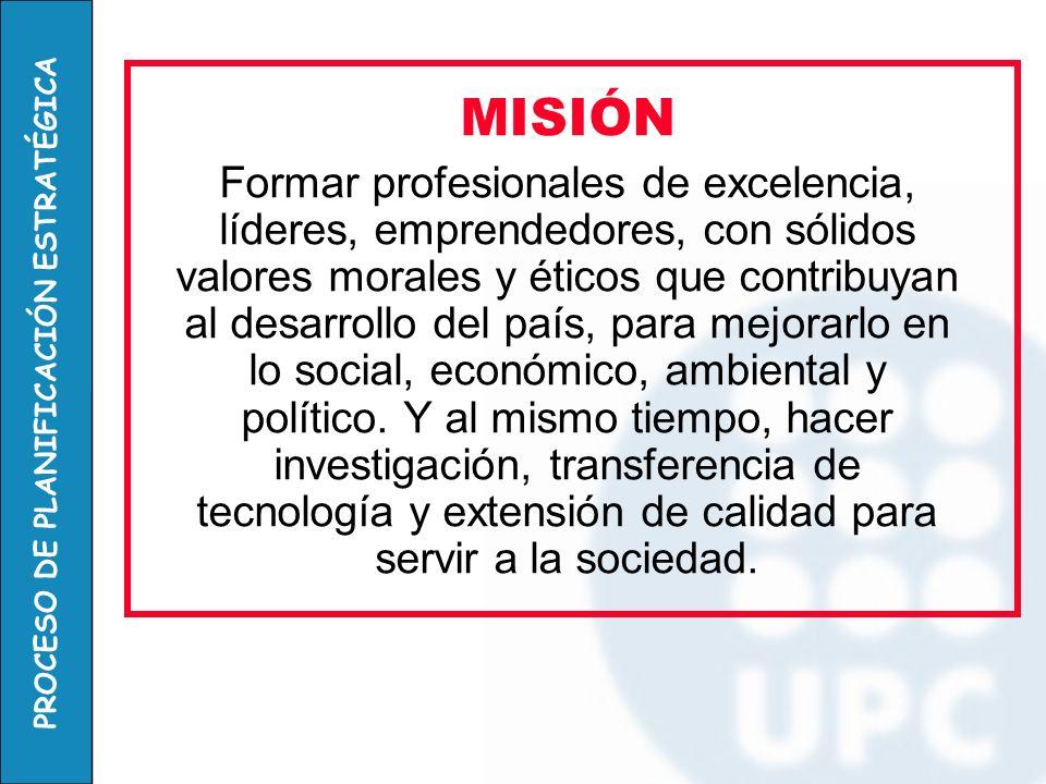 PROCESO DE PLANIFICACIÓN ESTRATÉGICA MISIÓN Formar profesionales de excelencia, líderes, emprendedores, con sólidos valores morales y éticos que contr