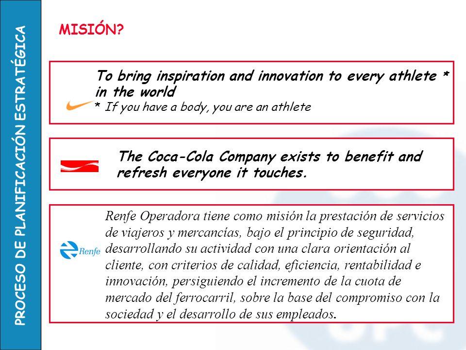 PROCESO DE PLANIFICACIÓN ESTRATÉGICA MISIÓN? To bring inspiration and innovation to every athlete * in the world * If you have a body, you are an athl