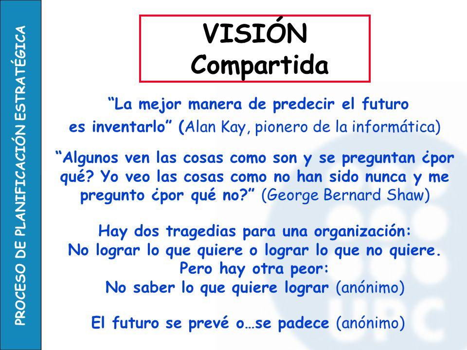 PROCESO DE PLANIFICACIÓN ESTRATÉGICA La mejor manera de predecir el futuro es inventarlo (Alan Kay, pionero de la informática) VISIÓN Compartida Algun